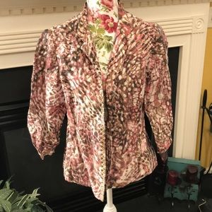 Chico's Brown & Pink Print Open Front Cardigan